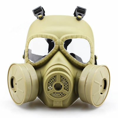 Emergency Gas Mask Dual Filter Fan CS Edition Perspiration Anti-Dust Face Guard