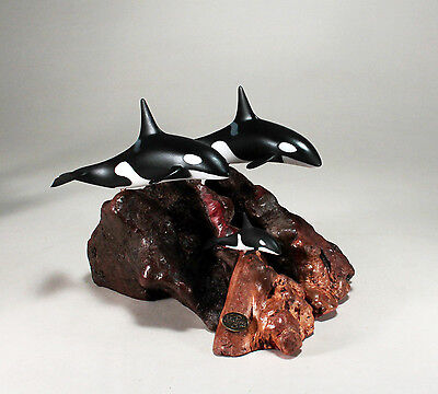 ORCA FAMILY KILLER WHALE Sculpture New direct from JOHN PERRY 4in high Statue