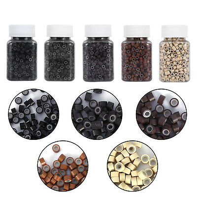 500/1000Pcs Hair Extension Silicone Lined Micro Rings Beads Links Tools 5 Colors