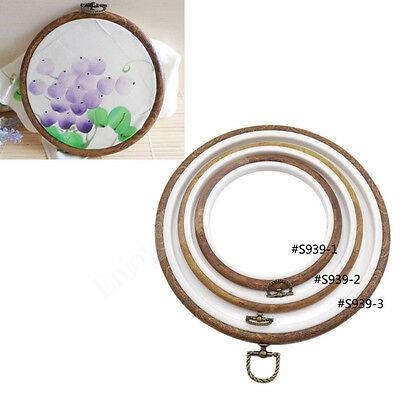 Vintage Wood Cross Stitch Embroidery Circle Round Hoop Frame Needlework Sweing