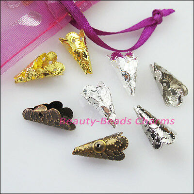 40 New Gold Silver Bronze Plated Flower Cone End Bead Caps Connectors 9x16mm