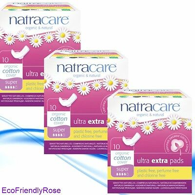 Organic Natracare Ultra Extra Pads - Super - 3 Packs of 10