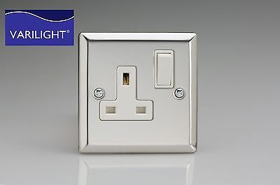 Polished Mirror Chrome Silver Plug Sockets Light Switches Outlets White Insert