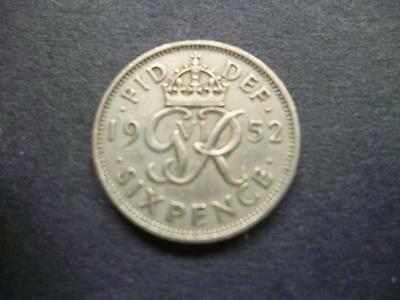 1952 Sixpence Piece Scarce Date In Good Circulated Condition. 1952 Sixpence Coin