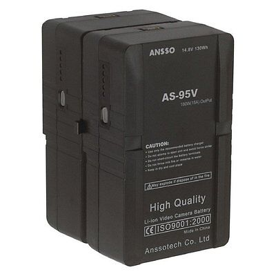 ANSSO AS-95V S2 V-Lock Mount Batteries 14.4V 190Wh Up to 15A Dtap USB output UK