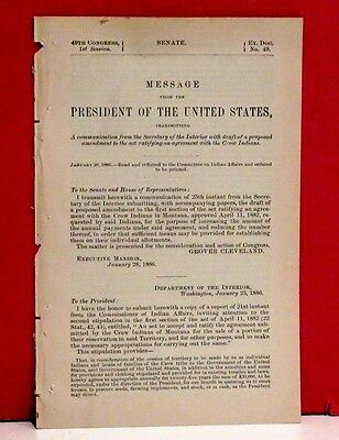 Message of the President-Amendment to Agreement with Crow Indians-Montana-1886
