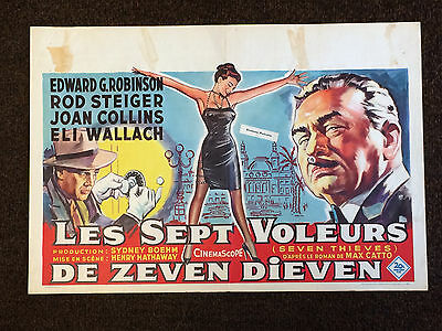JOAN COLLINS - EDWARD G. ROBINSON - Orig Vintage 'SEVEN THIEVES' BELGIAN POSTER