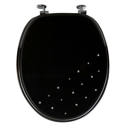 Black Diamante Bathroom Toilet Seat Universal WC Wooden Chrome Plated Hinges