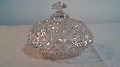 Vintage Crystal Cut Glass Candy Dish with Lid