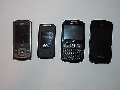 Lot of 4 Cell Phones Samsung LG Kyocera - For Parts