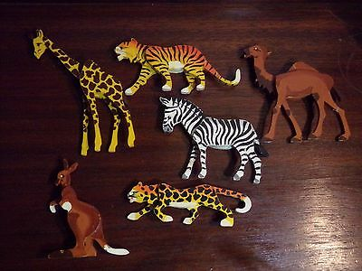 6 Vintage Painted Wood Folk Art Miniature Zoo Animals