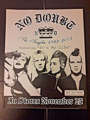 No Doubt The Singles RARE 2003 Window Cling Display Sticker* Gwen Stefani Voice