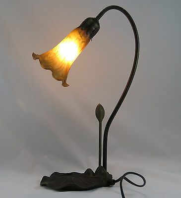 Art Deco Lily 1L Table Lamp In Antique Brass Finish + Cognac (Amber) Glass Shade