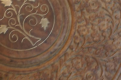 Vintage Hand Carved Wood Folding Table w/ Brass Inlay, Leaf & Bird, India #10