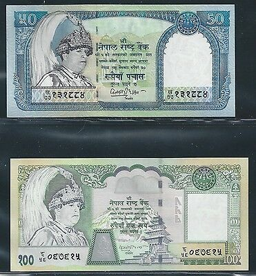 Nepal 2002 - 50, 100 Rupees - #48a, 49 - Uncirculated