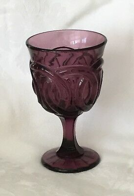 1 Beautiful L. G. Wright Double Wedding Ring Wine Glass Purple Amethyst, Vintage