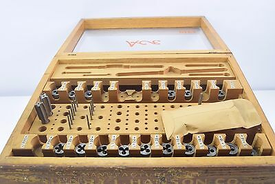 Vintage Henry L. Hanson Co. Set of Ace Taps & Dies in Glass & Wooden Box