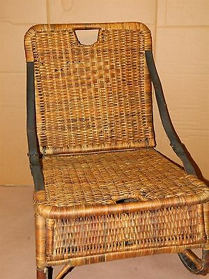 Antique Fishing Creel Camel Creel Chair all original Leather