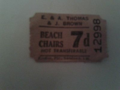 Beach Chairs Ticket 1950,s for Thomas Brown and Co Sandown IOW  VERY RARE