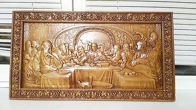 """Icon Last Supper Jesus 3D Art Orthodox Wooden Carved religious Picture. Size 41"""""""