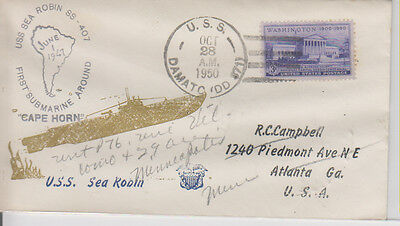 Naval Cover: US Damato DD871, Cachet of USS Sea Robin SS407, 10/28/1950, g1972