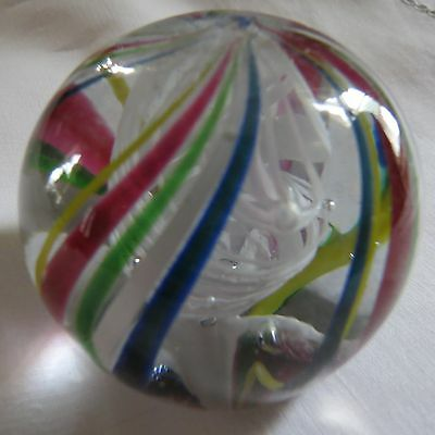 Vintage Multi Colored Swirled Glass Paperweight 1930's Ground Bottom