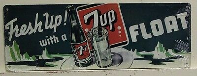 7-UP Metal Sign fresh up with a float vintage style ad sign ice cream float