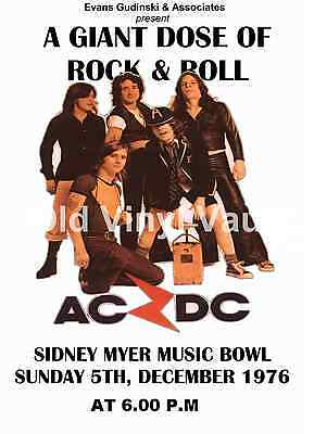 AC/DC Concert Poster Sidney Myer Music Bowl 1976  A3 size Repro