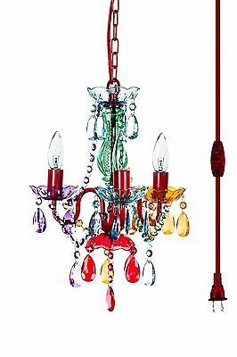 "The Original Gypsy Color 3 Light Mini Plug-in Chandelier H16"" W13"", Red Metal"