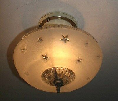 Antique glass frosted stars flush mount deco light fixture ceiling chandelier