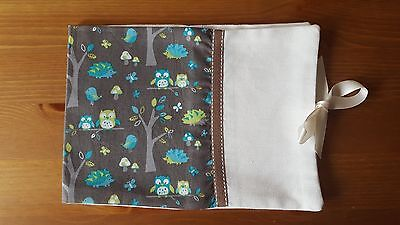Handmade Baby Health Record Book Cover for the Red NHS Book-Owl and Forest
