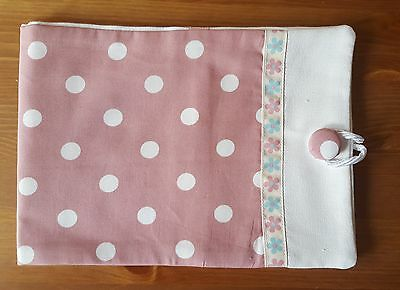 Handmade Baby Health Record Book Cover for the Red NHS Book-White Dots