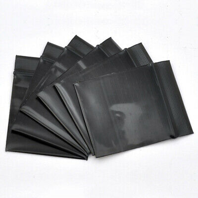100pc Two-Sided Black Soft Plastic Sealable ZipLock Bags ~2.5x4in Outer Size