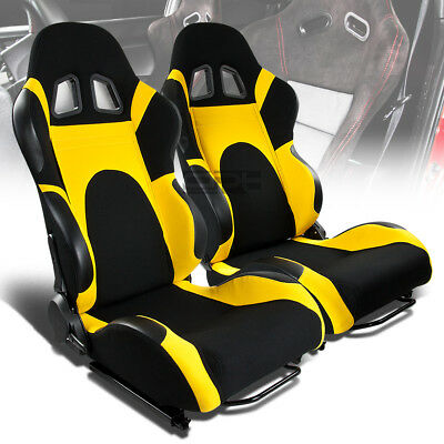 X2 Pair Full Reclinable Left+Right Black/yellow Canvas/woven Bucket Racing Seats
