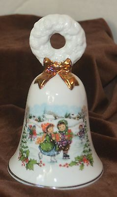 Avon Christmas Bell 1986 Children Ice Skating Wreath Handle