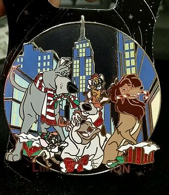 WDI Disney Oliver and Company Holiday Christmas Pin Dodger Rita Dogs LE 250