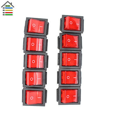 10pcs 16A/250V 4 Pin ON/OFF Red Lamp SPST Button Rocker Switch