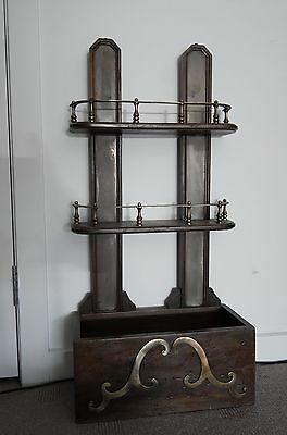 Antique C.1880 Victorian Gothic wood/brass wall hanging spice rack shelving unit