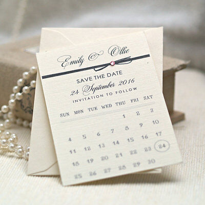 Personalised Calendar style wedding Save the date cards / Tags