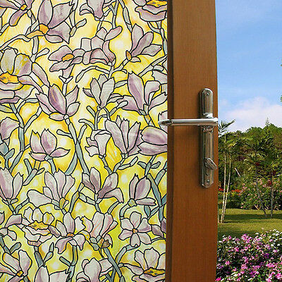 Magnolia Decorative Window Film Self Static Adhesive Stained Glass Window Clings