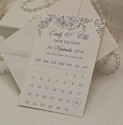 Personalised Lace design Calendar style wedding Save the date cards