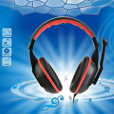 3.5mm Adjustable Gaming Headphones Stereo Noise-canceling Computer Headset#Y
