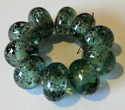 10 Apple Green With Black/white Fine Frit Lampwork Beads  Sra