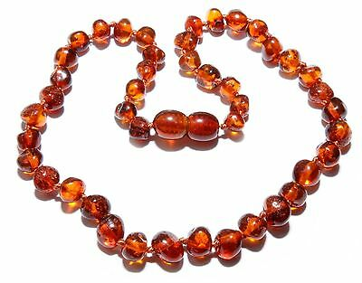 Genuine Baltic Amber Necklace for Baby Child Cognac Beads 12.6 - 13.4 in