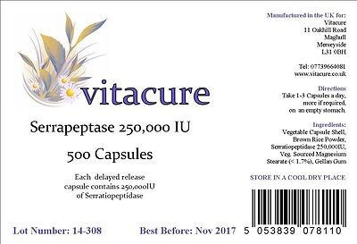 FROM VITACURE 500 DELAYED RELEASE 250000iu SERRAPEPTASE CAPSULES SUPERSTRONG