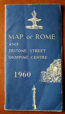 Map of Rome Italy & Tritone Street Shopping Centre 1960 12 Panel (3x4) Good Cond