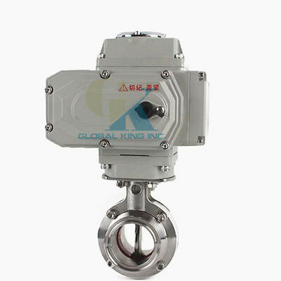 "3-1/2"" Sanitary Stainless Steel 304 Motorized Butterfly Valve Tri Clamp 220VAC"