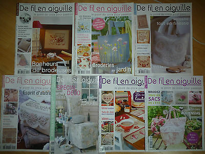 Lot magazines De Fil en Aiguille 41 49 53 59 60 65 69 Point de croix - Enginger