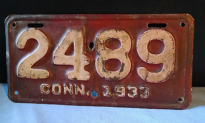 1933 Connecticut ( Motorcycle )  License Plate  * All Original * A Real Beauty