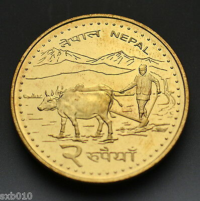 Nepal 2 Rupees coin. km1188. UNC. Asia.